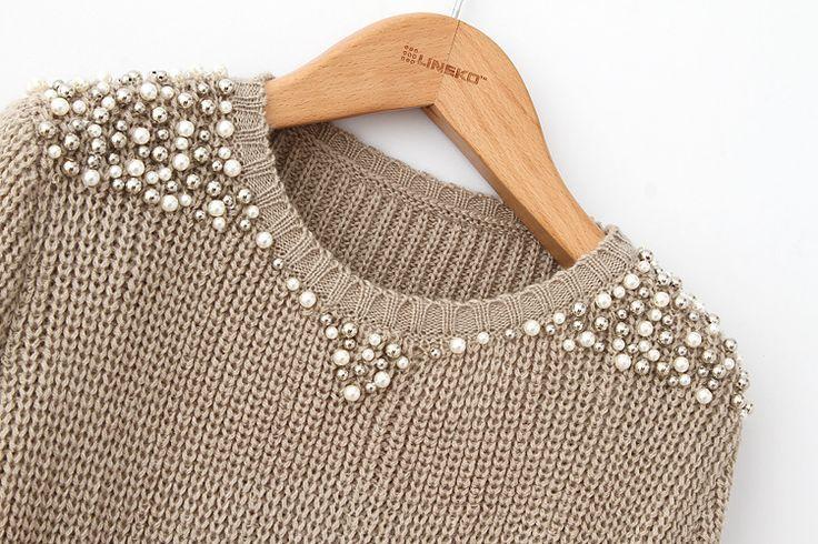 O-образным вырезом Бисероплетение свободные свитера