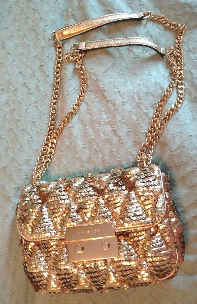 0d9e62e6085933 NWT Michael Kors Sloan Sequin Handbag Pale Gold Small Chain Shoulder  Retails 598 | eBay