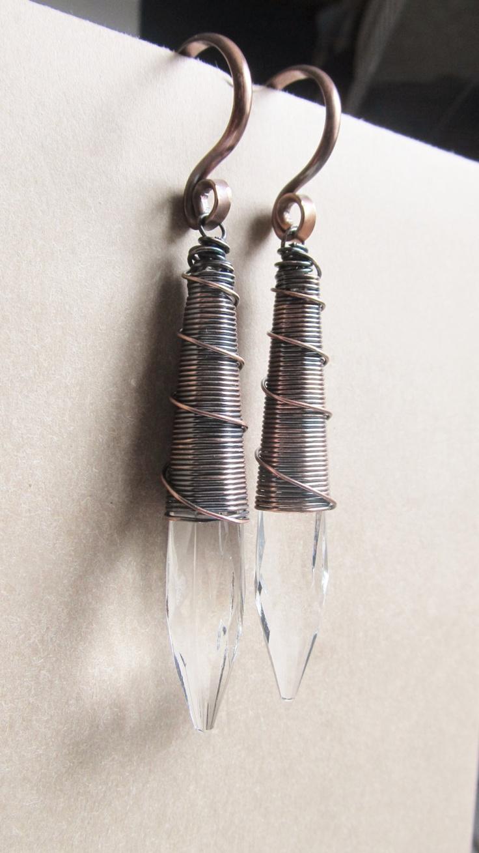 Gauged Earrings Wire Wrap Crystal Earrings Ear Weight for Stretched Ears DanielleRoseBean 8g Earrings. $48.00, via Etsy.