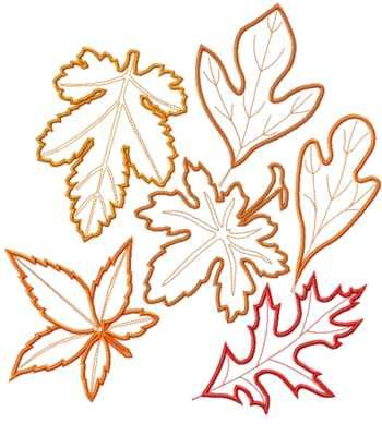 Advanced Embroidery Designs - Leaves Applique Set III