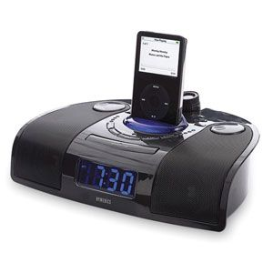 The HoMedics SoundSpa With iPod Dock SS7000 Alarm Clock has an iPod dock, an AM/FM radio, and a projector that displays the time on the wall or ceiling.