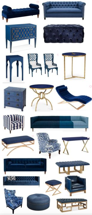Navy and cobalt blue discount furniture and acecessories