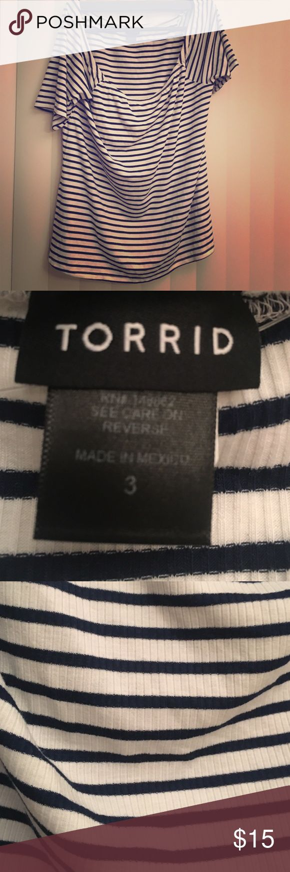 Torrid off the shoulder striped top Stretchy Bardot-neck top with 3/4 sleeves and navy stripes. Runs a little small imo; best for a 20 or small 22. Never worn. torrid Tops Tees - Long Sleeve