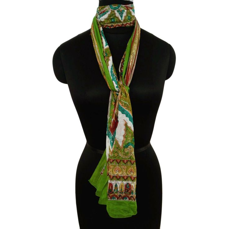 100%Cotton Neck Scarf Women Head Wrap Green Summer Scarves Floral Print  ..this is img