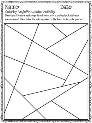 Angles coloring pages ~ Print and Go: Color by Angle Protractor Activity COMMON ...
