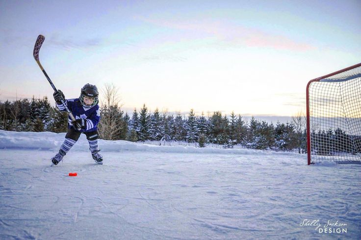 Practicing at sunset on the backyard rink in Grey County, Ontario, Canada.