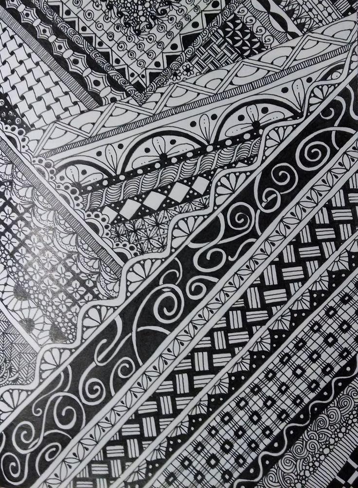 Zentangle Inspired Art on Moleskine Cahier Notebook using Bic Intensity Fine Point
