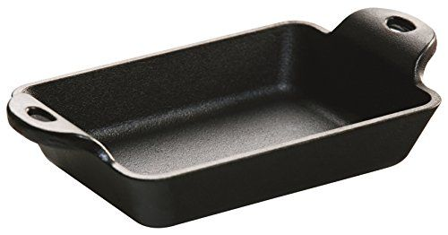 Lodge HMSRC Heat Enhanced and Seasoned Cast Iron Rectangular Mini Server 10Ounce Black * Read more reviews of the product by visiting the link on the image.