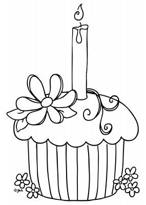 Free Spring Cupcake Digital Stamp