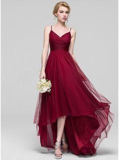 Vestidos princesa/ Formato A Decote V Assimétrico Tule Vestido de madrinha com Pregueado