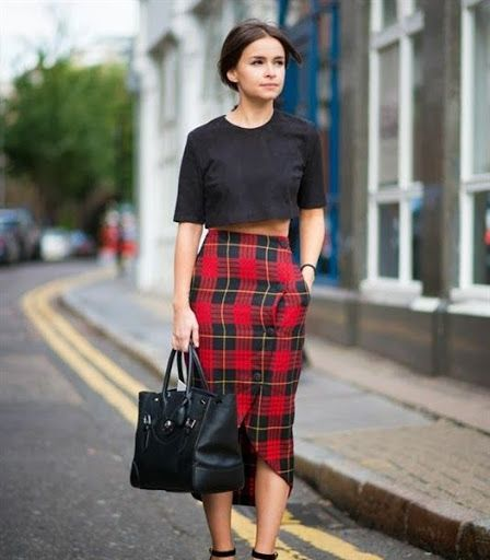 Plaid skirt outfit ideas for women - spring/summer 2015/2016