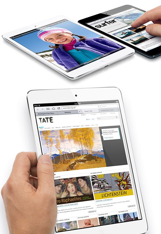iPad Mini | Running the latest A5 processor, the new 7.9-inch tablet is half the weight and considerably more portable than the latest iPad but has the same 1024 X 768 resolution. It offers just as many app options, and boasts 10-hour battery life, and a 5MP camera.