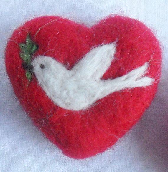 Peace Dove Needle Felted Heart. $16.00, via Etsy.