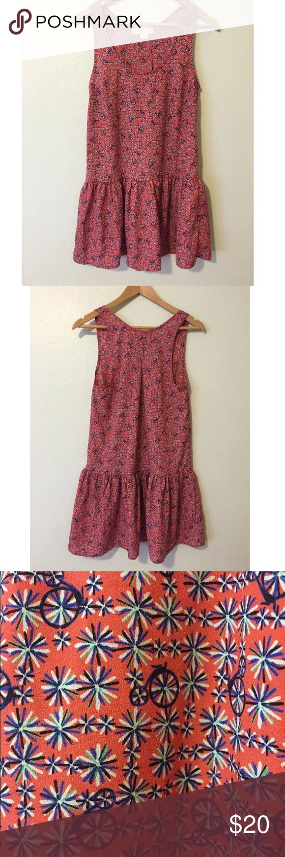 Urban Outfitters Staring At Stars Drop Waist Dress Darling sleeveless drop waist dress with red bicycle print from Urban Outfitters brand Staring at Stars. Size small. 100% polyester. Made in the USA. In gently worn condition. Only light signs of previous wash and wear, no notable flaws. Urban Outfitters Dresses Mini
