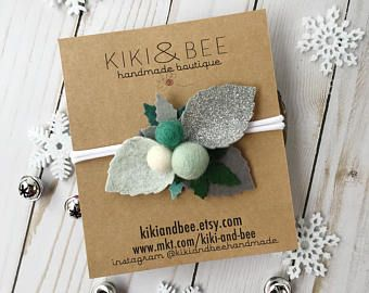 Jack Frost // Holiday Leaf & Berry Bouquet // Christmas Headband // Felt flower crown headband // kikiandbee