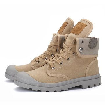 Lace Up Warm Wool Lining Round Toe Soft Sole Short Boots For Men - US$46.17