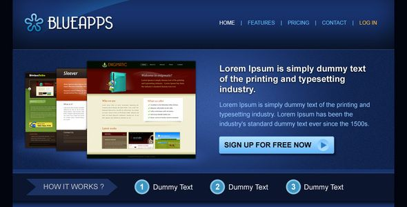 Blueapps   http://themeforest.net/item/blueapps/42923?ref=damiamio       Blueapps is a clean PSD file to showcase your product or services. It comes with 5 different pages of Home, Features, Pricing, Contact and Login.   PSD Themes            Created: 21May09 LastUpdate: 21May09 MinimumAdobeCSVersion: CS2 Tags: clean #clean #software #technology #THEMEFOREST