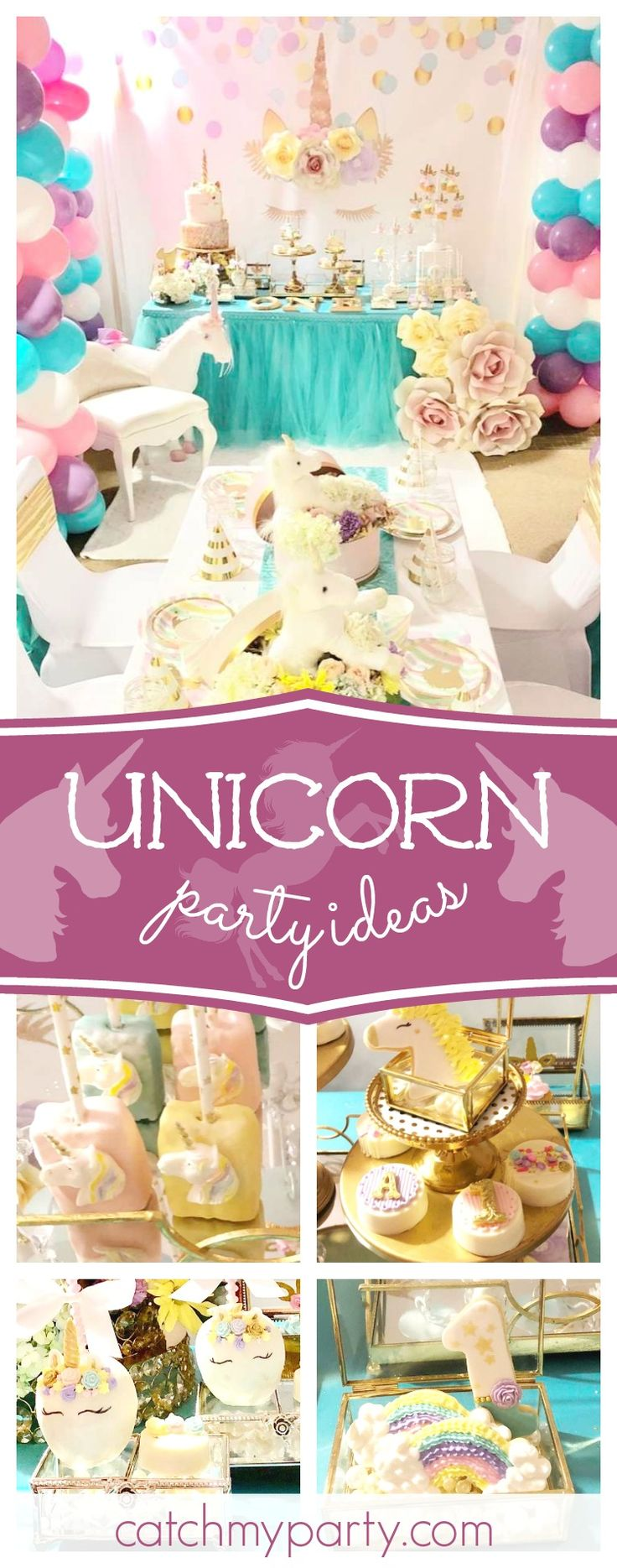Check out this gorgeous Unicorn and Flowers birthday party! The dessert table is amazing!! See more party ideas and share yours at CatchMyParty.com #unicorn #partyideas