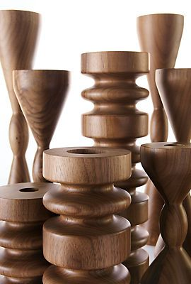 Elevate your candles with these classic turned wood candle holders made by a seventh-generation woodworking company in Massachusetts.