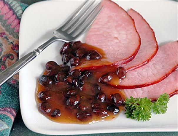 Easy Raisin Sauce for Ham from Food.com:   This is a family favorite! the raisins cook up plump and soft, and the lemon balances with the fruit's sweetness and best of all it's easy to make. This is a must served with ham!