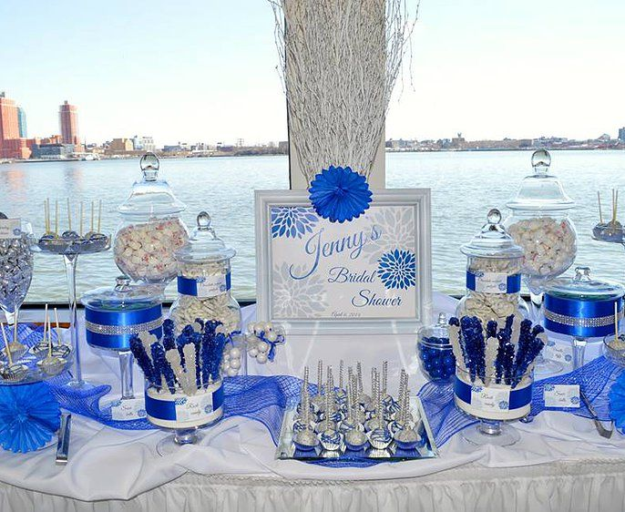 Blue Baby Shower Candy Buffet Part - 35: Bridal Shower Candy Buffet Royal Blue