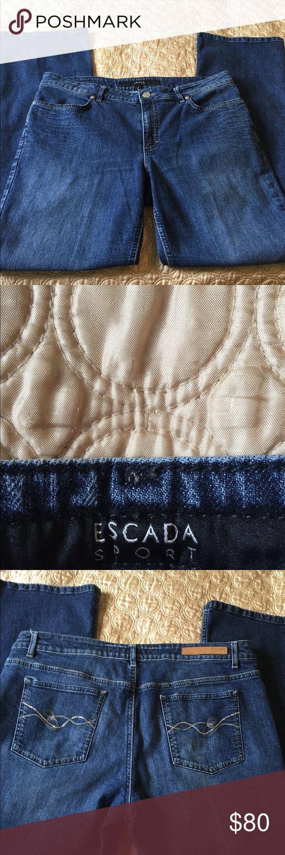 Escada Sport jeans Escada Sport jeans, like new! Rhinestone E on each back pocket! Gives them lots of bling! Size 46 with 32 inch inseam. Escada Jeans Boot Cut