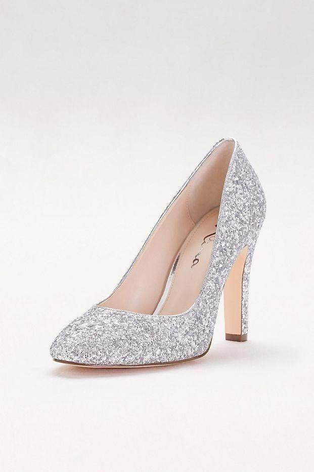 Round-Toe Glitter Pumps  4c374020f