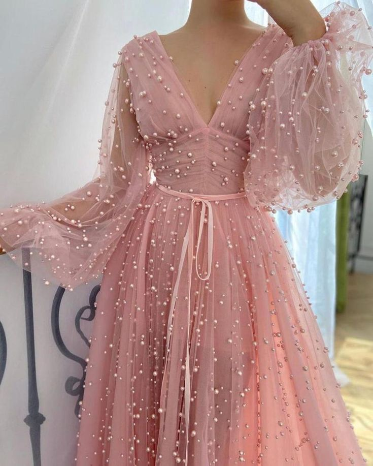 v neck pink gown with pearls for wedding or special occasions
