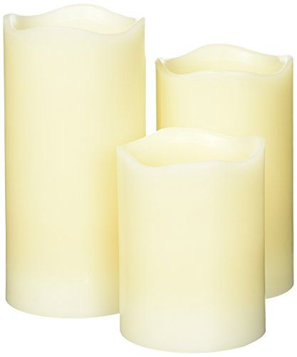 Candle Choice Vanilla Scented Real Wax LED Flameless Candles with Remote  Timer Set of 3 * Continue to the product at the image link.
