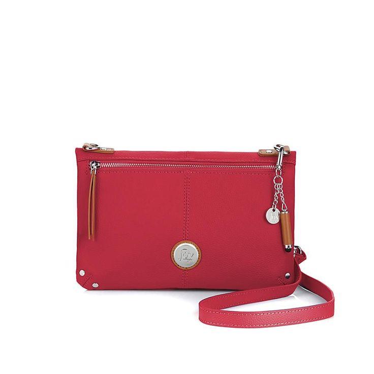 Joy Mangano JOY Genuine Leather Foldover Crossbody Bag with RFID Protection - Pink