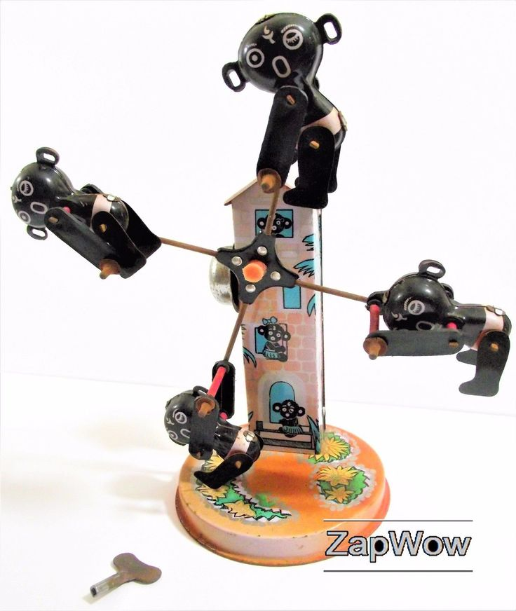 WINKY BLINKY TIN TOY Clockwork Big Wheel Vintage Black Winkie Blinkie Doll in Toys & Games, Vintage & Classic Toys, Clockwork/Wind-Up | eBay