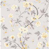 Colours Nadia Soft Lemon Trees with Birds Mica Wallpaper | Departments | DIY at B&Q