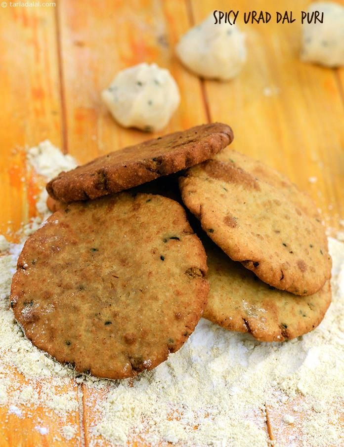 Spicy Urad Dal Puri, rice flour and soya flour replace refined wheat flour in these famous traditional Rajasthani  deep-fried treats! serve hot.