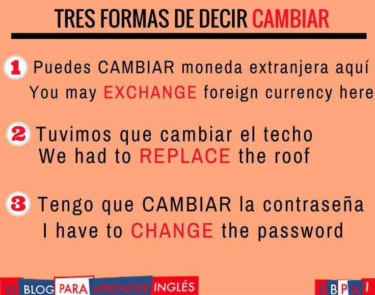 3 Formas de decir CAMBIAR en inglés. http://blogdelingles.com/