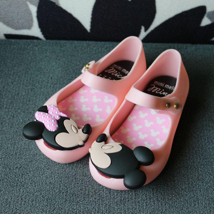 Mini Melissa Girls Jelly Sandals 2017 kids  sandals jelly shoes Satin bow PVC soft outsole children sandals Rain shoes 15-18cm