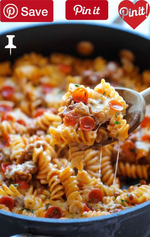 DIY One Pot Pizza Pasta Bake - One Pot Pizza Pasta Bake - An easy crowd-pleasing one pot meal that the whole family will love! Everyone will be begging for seconds!  Ingredients  Meat  8 oz Italian sausage spicy   cup Pepperoni mini  Produce   tsp Basil dried   tsp Garlic powder   tsp Oregano dried  2 tbsp Parsley fresh leaves  Condiments  1 (15-ounce) can Tomato sauce  Pasta & Grains  8 oz Rotini pasta  Baking & Spices  1 Kosher salt and freshly ground black pepper  Oils & Vinegars  1 tbsp…