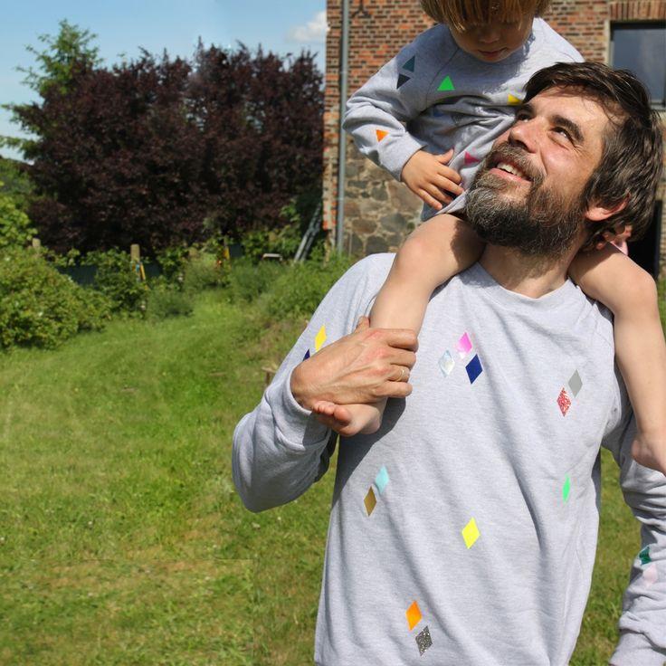 Partnerlook Vater+Sohn Sweater Diamonds grey ADULT von POMBerlin