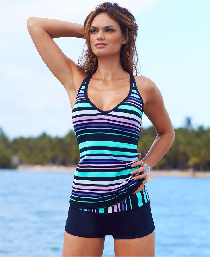 JAG Swimsuit, Crisscross Striped Tankini Top & Striped Boy Shorts Swim Bottom - Swimwear - Women - Macy's