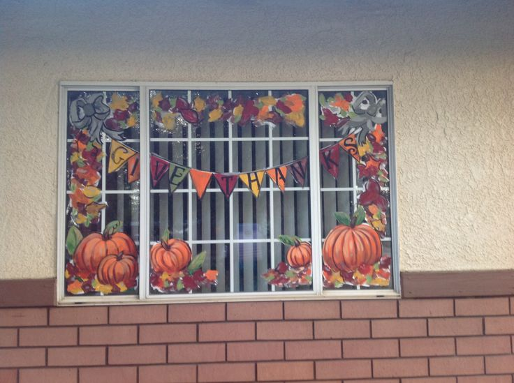 Fall windows window painting ideas pinterest window for Autumn window decoration