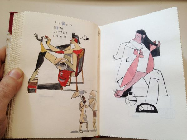 red sketchbook by Riccardo Guasco, via Behance