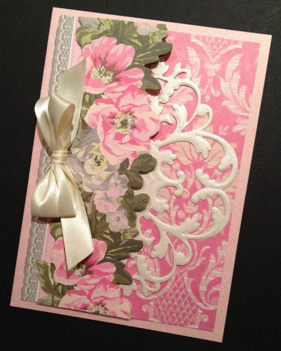 Shabby-Sweet Pink Rose All Occasion Card with Anna Griffin Papers