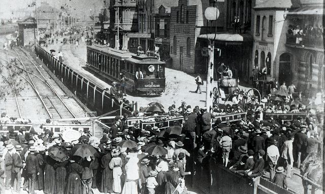 Funeral procession for victims of the Stockton Colliery disaster, Scott and Market Streets Newcastle, NSW, [6 December 1896] by Cultural Collections, University of Newcastle