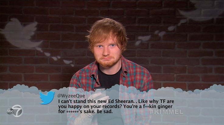 Ed Sheeran from Celebrity Mean Tweets From Jimmy Kimmel Live!