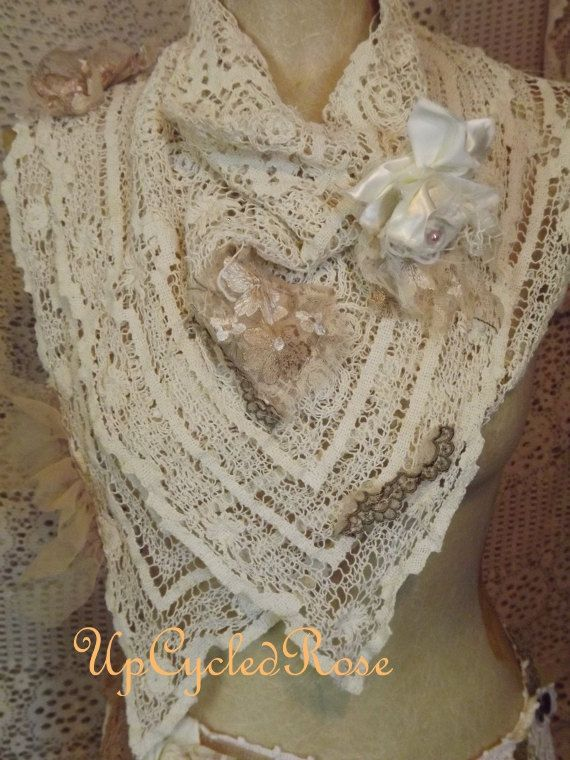 Upcycled Cowgirl Kerchief Shabby Tea Stained Barn Wedding Chic