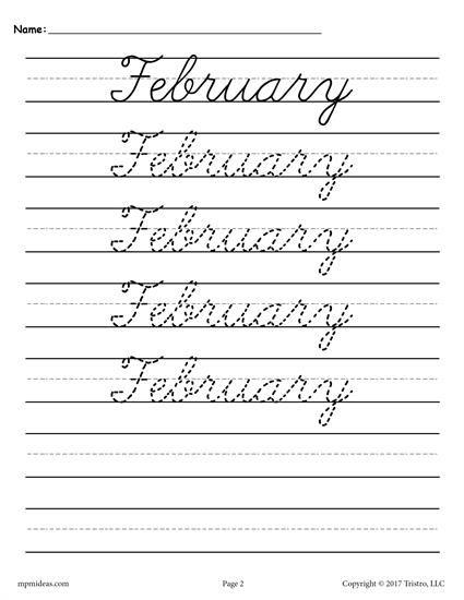 12 free months of the year cursive handwriting worksheets homeschooling ideas cursive. Black Bedroom Furniture Sets. Home Design Ideas