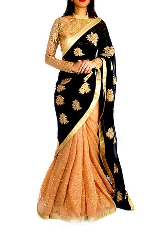 Black and Golden Bollywood Designer Saree | Veeshack Shop