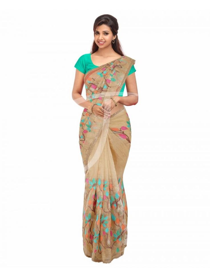 Tissue Golden Colour Fancy Saree with Multi Colour Embossed Thread Designs along with Golden Colour Fancy Borders