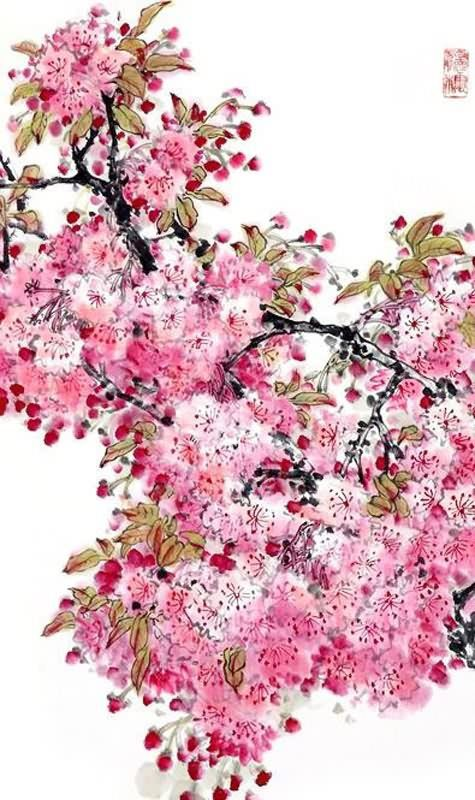 chinese cherry blossom painting x x