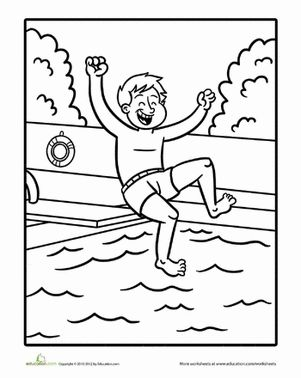 Swimming Coloring Page Worksheet