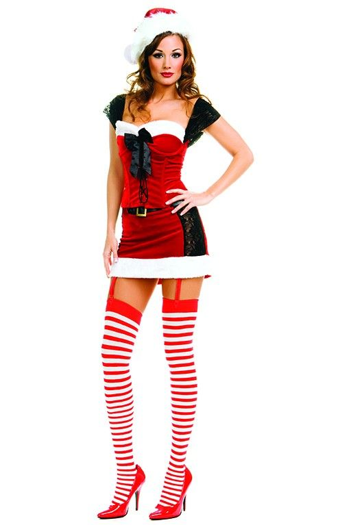 #MusicLegs #Holidayseason www.fifty-6.com ml70166 2 pc. lace up miss santa outfit